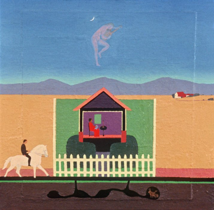 <em>Happy Home,</em> 1992, 18x18 inches, mixed media with oil on panel