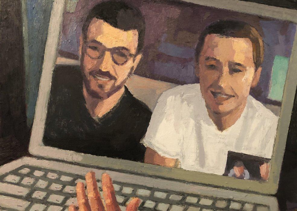 <em>Boys on Skype,</em> 2020, 8x12 inches, oil on panel