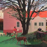 <em>Deer at McC,</em> 2016, 16x20 inches, mixed media with matte acrylic on panel
