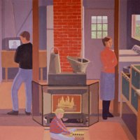 <em>The Hearth at McC,</em> 1989, 18x18 inches, gouache on paper