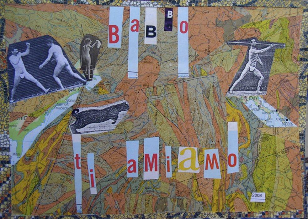 <em>Babbo 2008</em>, mixed media collage