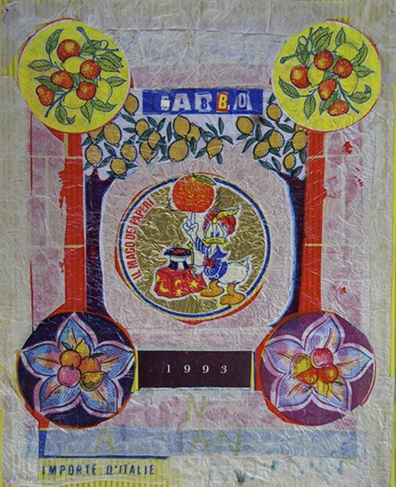 <em>Babbo 1993</em>, mixed media collage