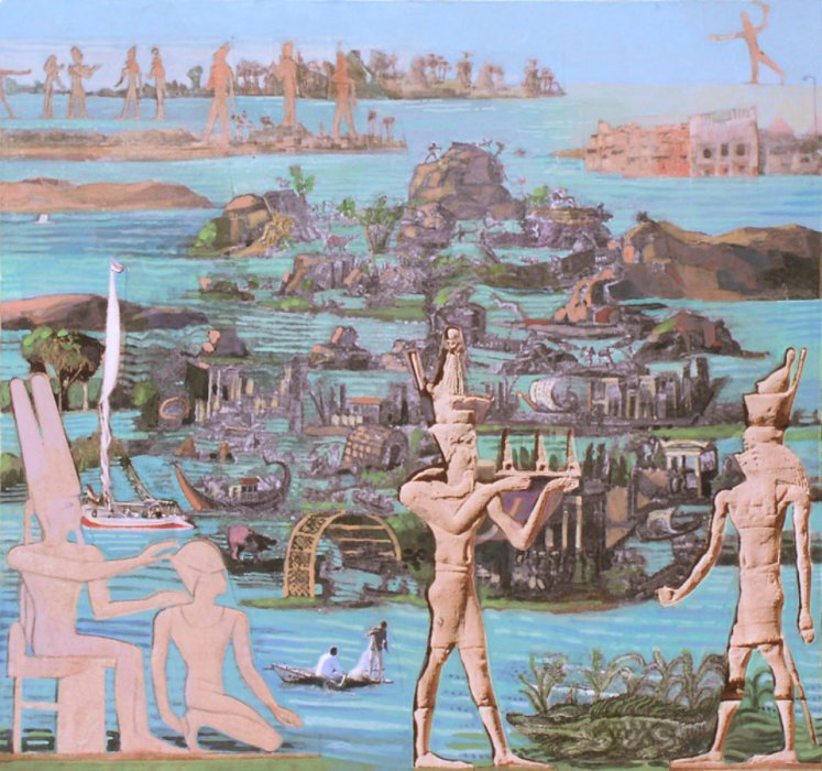 <em>On the Nile,</em> 2010, 11x12 inches, mixed media with matte acrylic on panel