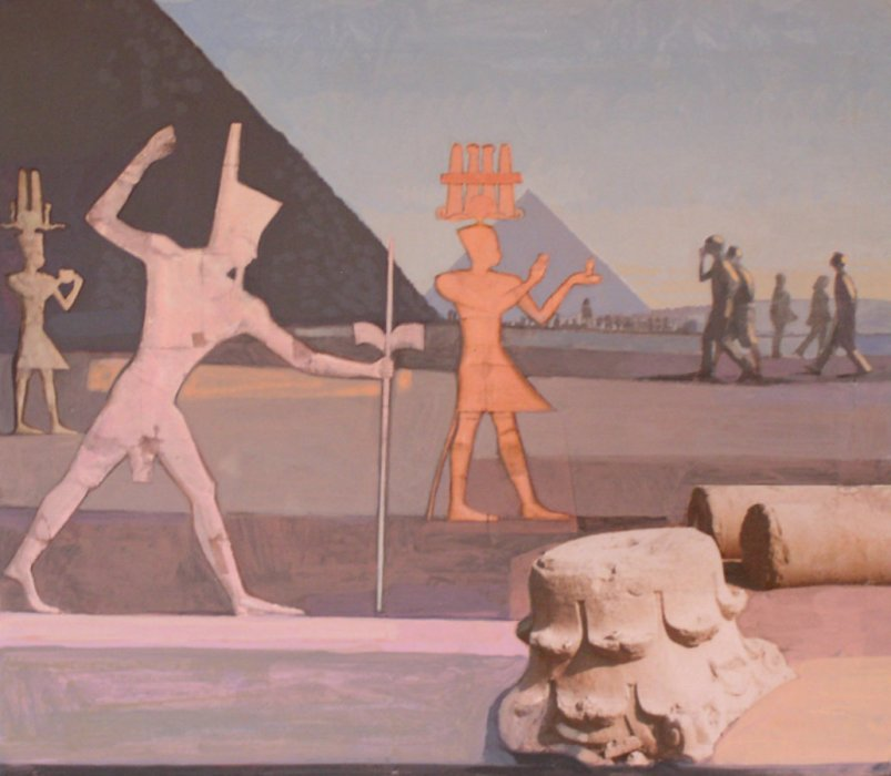<em>Pyramids with Capital,</em> 2010, 12 x 13 3⁄4 inches, mixed media with matte acrylic on panel