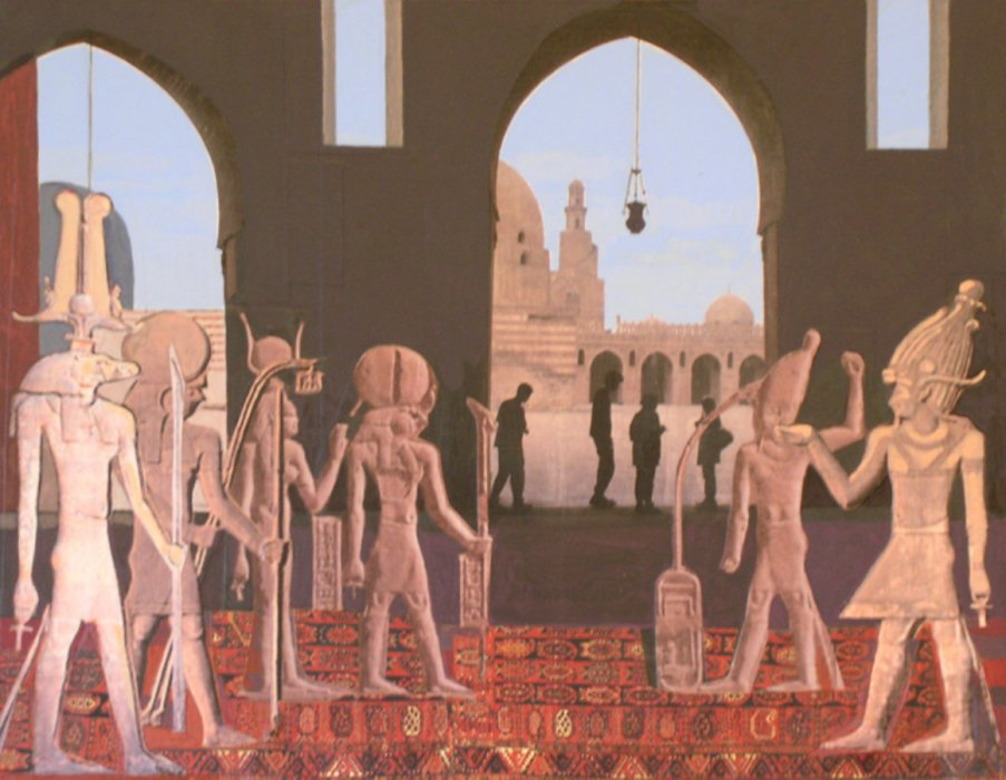 <em>Cairo, Ibn Tulun,</em> 2011, 11x14 inches, matte acrylic with mixed media on panel