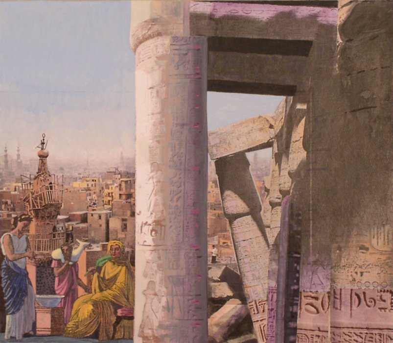<em>Cairo, Romans,</em> 2010, 13x15 inches, collage with matte acrylic on panel