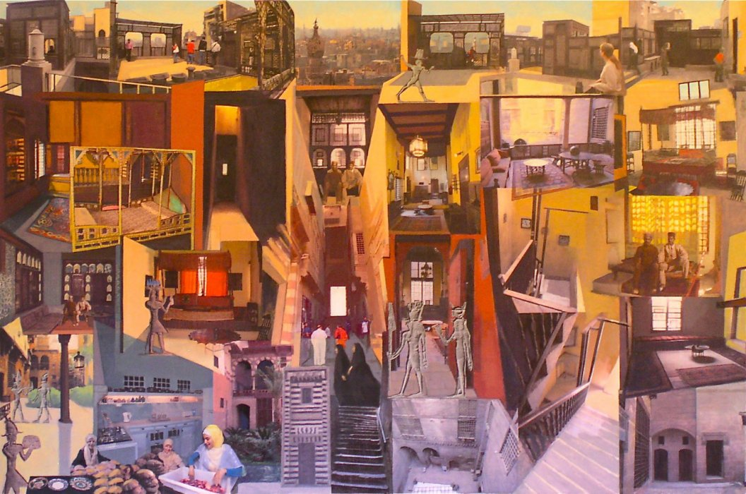 <em>Palace Walk,</em> 2011, 40x60 inches, mixed media with oil on panel