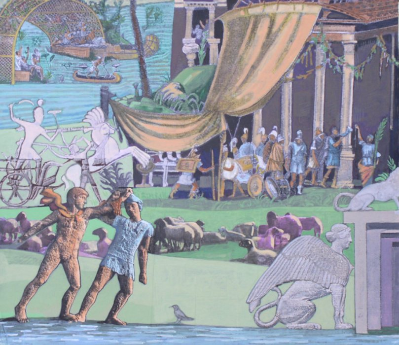 <em>On the Nile, Roman Soldiers,</em> 2010, 13 x 15 inches, mixed media with matte acrylic on panel