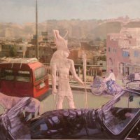 <em>Cairo, Traffic,</em> 2010, 12x13.5 inches, mixed media with matte acrylic on panel