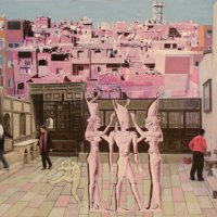 <em>Cairo, Roof Terrace,</em> 2010, 12x14 inches, mixed media with matte acrylic on panel