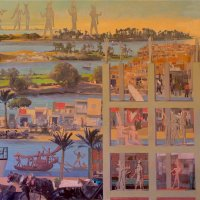 <em>On the Nile,</em> 2011, 40x60 inches, mixed media with oil on panel