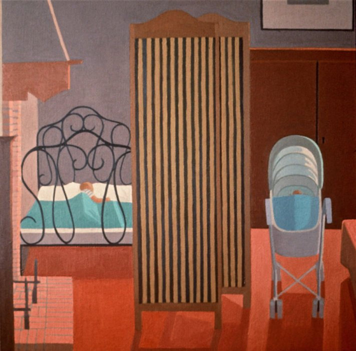 <em>Quiet Time</em>, 1991, 28x28 inches, oil on canvas