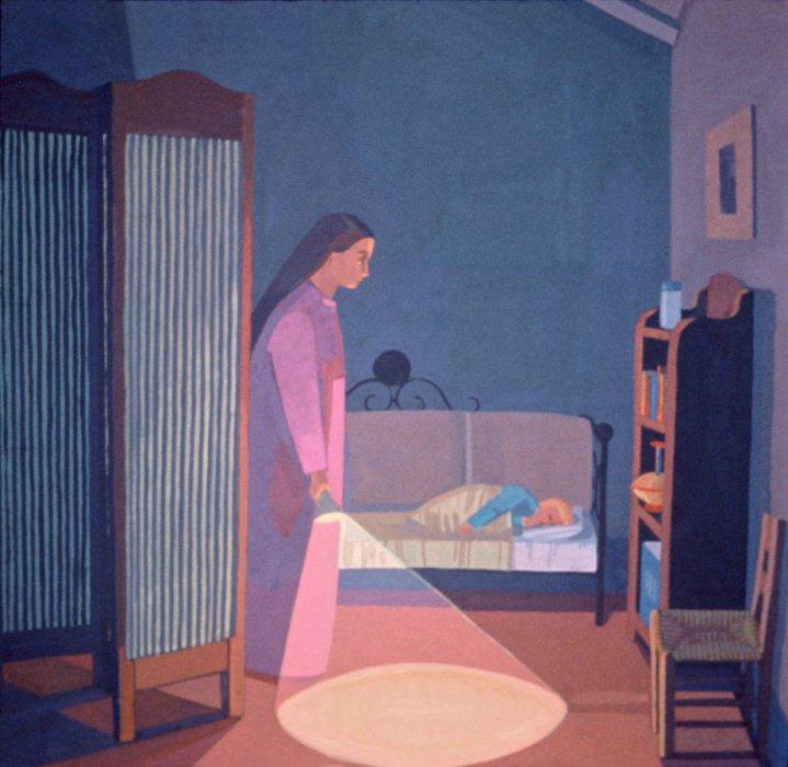 <em>Night Light</em>, 1991, 12x12 inches, gouache on paper