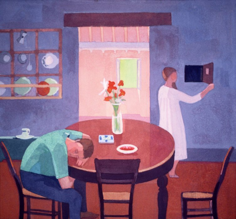 <em>Study for the Kitchen 2,</em> 1985, 10x10 inches, gouache on paper
