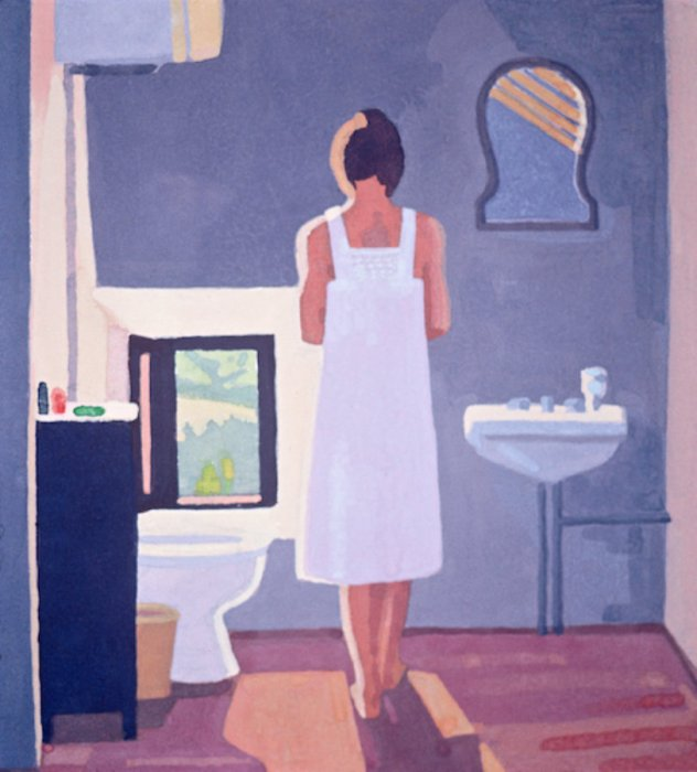 <em>Study for the Bath 2,</em> 1985, 10x8 inches, gouache on paper
