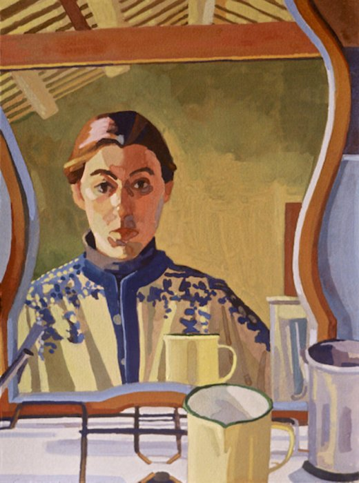<em>Self Portrait with Norwegian Sweater,</em> 1985, 15x11 inches, gouache on paper
