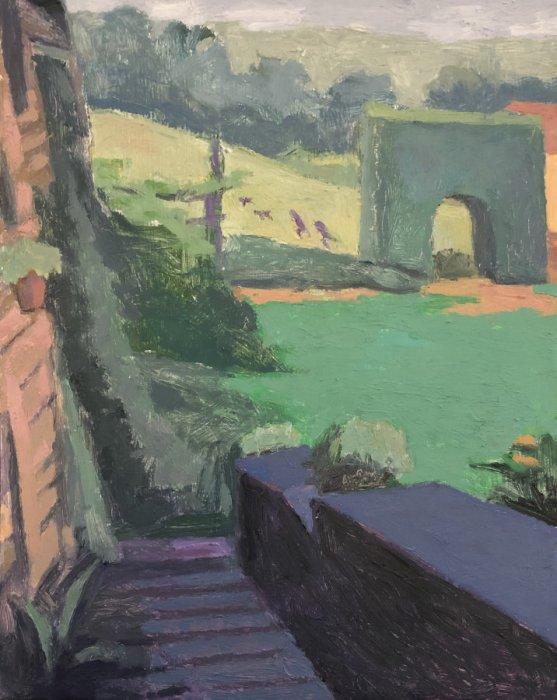 <em>Boys, Pugs, Triumphal Arch,</em> 10.75x8.5 inches, oil on panel