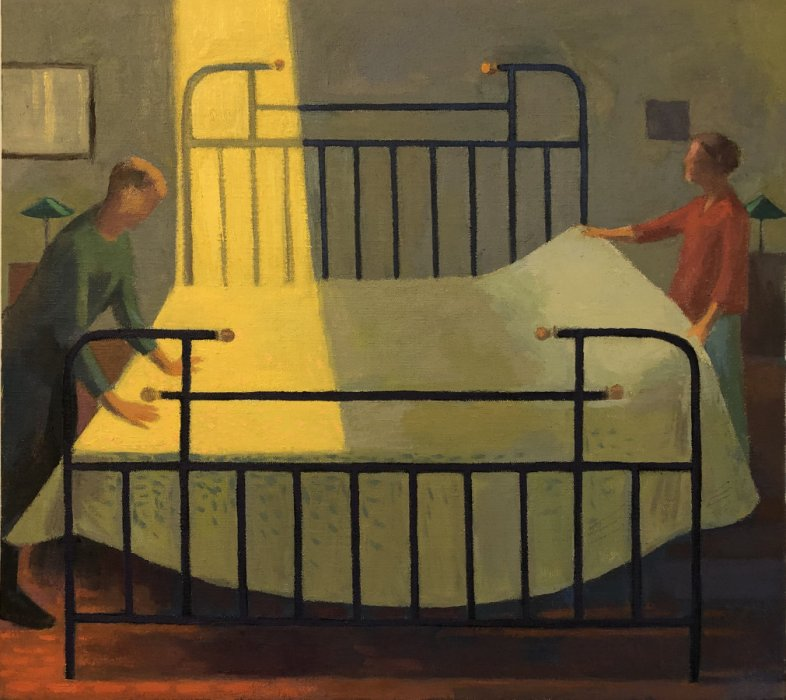 <em>Making the Bed</em>, 2020, 18x18 inches, oil on canvas