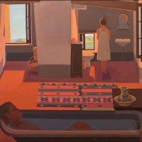 <em>The Bath</em>, 1986-89, 44x48 inches, oil on canvas