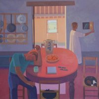 <em>The Kitchen</em>, 1986, 44x48 inches, oil on canvas