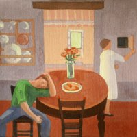 <em>Study for the Kitchen,</em> 1985, 10x10 inches, gouache on paper