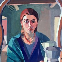 <em>Self Portrait with Caffe,</em> 1986, 15x11 inches, gouache on paper