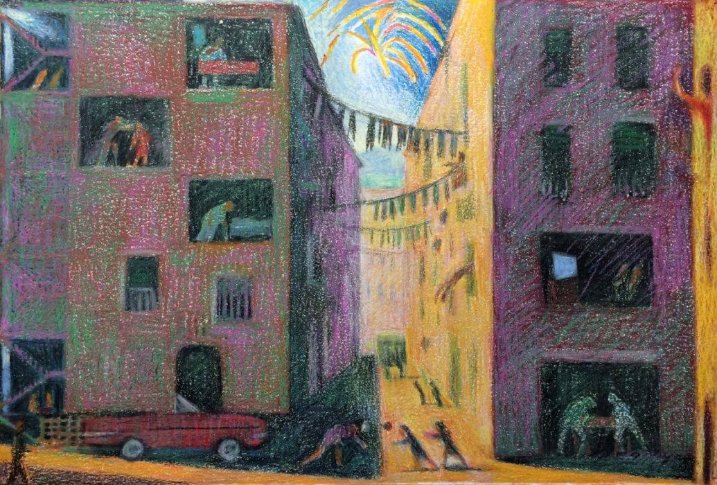 <em>L'amica geniale  (Elena Ferrante),</em> 2017, 15x22 inches, oil pastel on paper