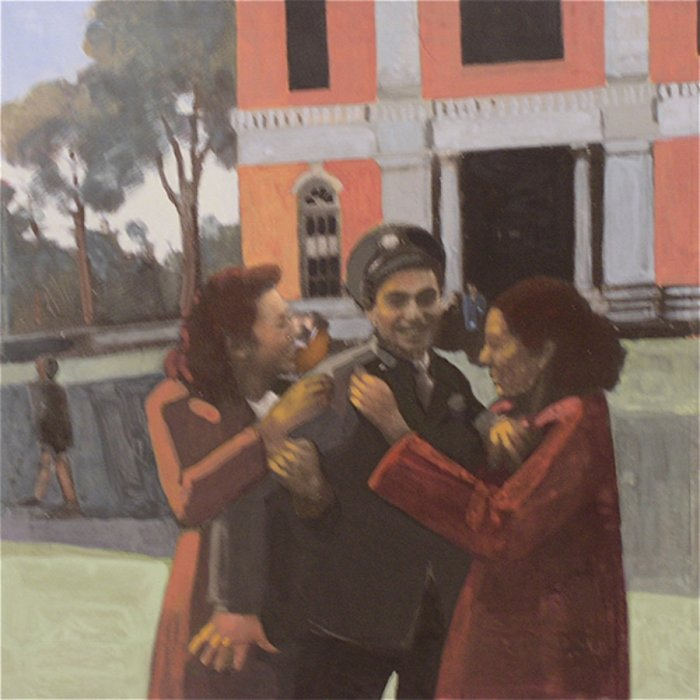 <em>Fran, Sam and Betty,</em> 2011, 12x12 inches, mixed media with matte acrylics on panel