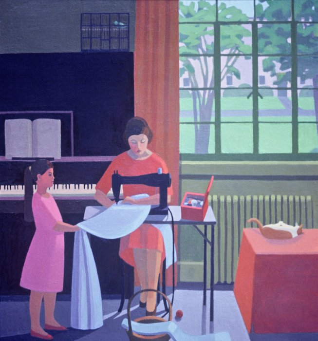 <em>The Sewing Lesson,</em> 1988, oil on canvas