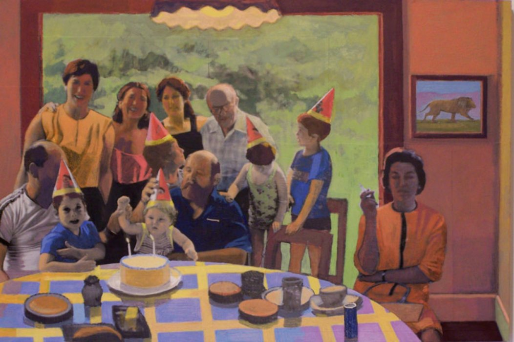 <em>Eli's Birthday,</em> 2008, 18x24 inches, mixed media with oil on panel