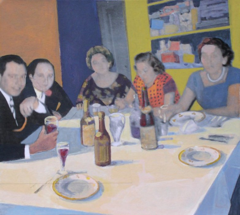 <em>Dinner at Home,</em> 2009, 10x11 inches, mixed media with matte acrylic on panel