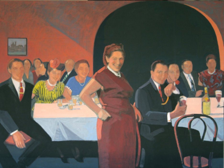 <em>Dinner at a Restaurant,</em> 2009, 12x15 inches, mixed media with matte acrylic on panel