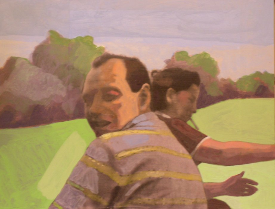 <em>ran and Sam,</em> 2009, 11x14 inches, mixed media with matte acrylics on panel
