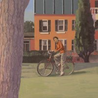 <em>Bicycle at Plum Point,</em> 2011, 11x14 inches, mixed media with matte acrylic on panel