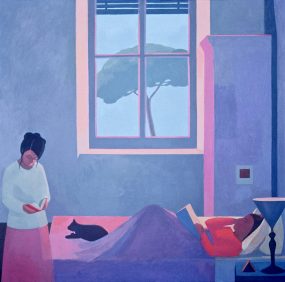 <em>Two Friends Reading,</em> 1981, 60x60 inches, oil on canvas