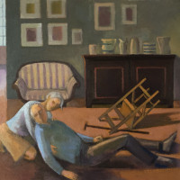 <em>A Fall,</em> 2021, 19x18 inches, oil on canvas