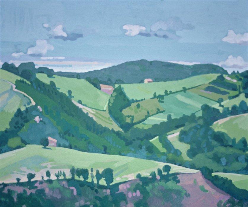 <em>Landscape Nogna,</em> 1983, 5x7 inches, gouache on paper