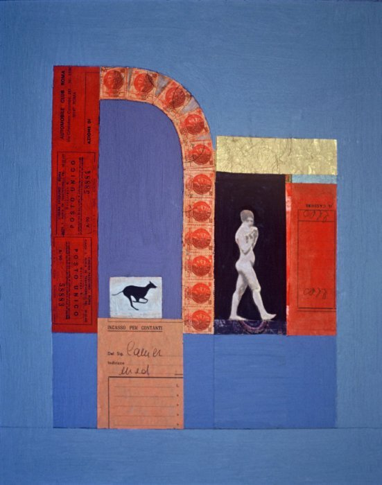 <em>Woman among Ruins,</em> 1979, 15x12 inches, mixed media with oil on board