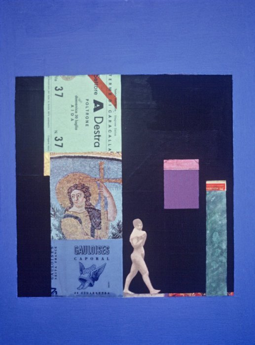<em>Woman among Ruins,</em> 1979, 15x11.5 inches, mixed media with oil on board