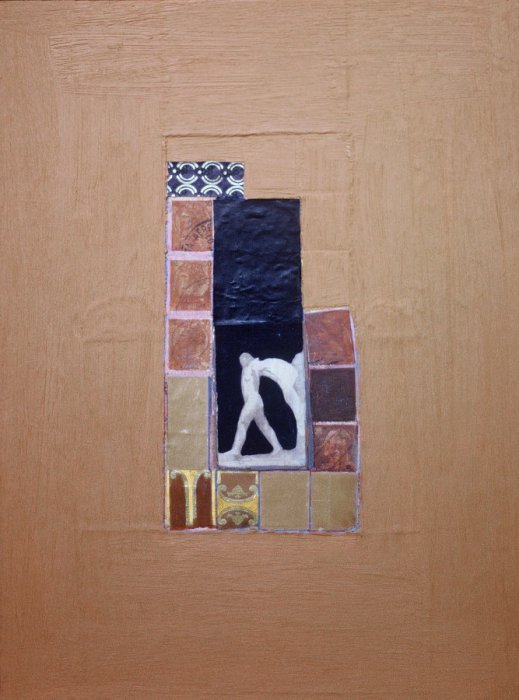 <em>Woman among Ruins,</em> 1981, 11x8.5 inches, mixed media with oil on board