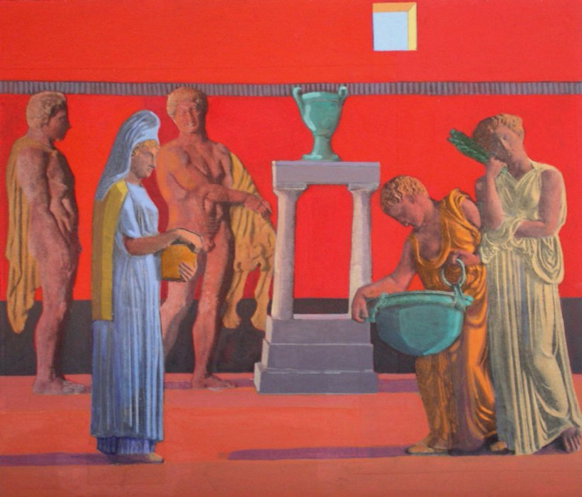<em>Roman Interior</em>, 2005, 12x14 inches, mixed media with matte acrylic on panel