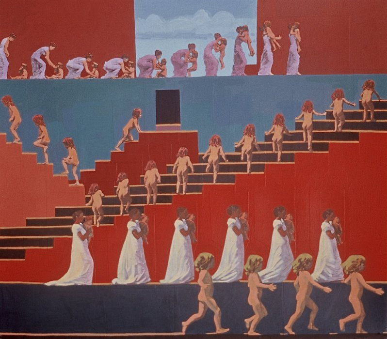 <em>Women and Children Coming and Going,</em> 2000,  21x22.5, mixed media with matte acrylic on paper