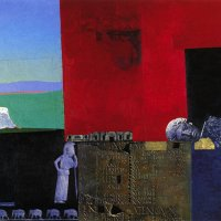 <em>Woman Among Ruins,</em> 1999, 32 x 40 inches, mixed media with oil on panel