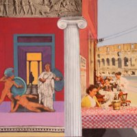 <em>Trattoria, </em>2006, 10x12 inches, mixed media/matte acrylic on panel