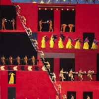 <em>Women Coming and Going,</em> 2000, 32 x 24 inches, mixed media with oil on panel