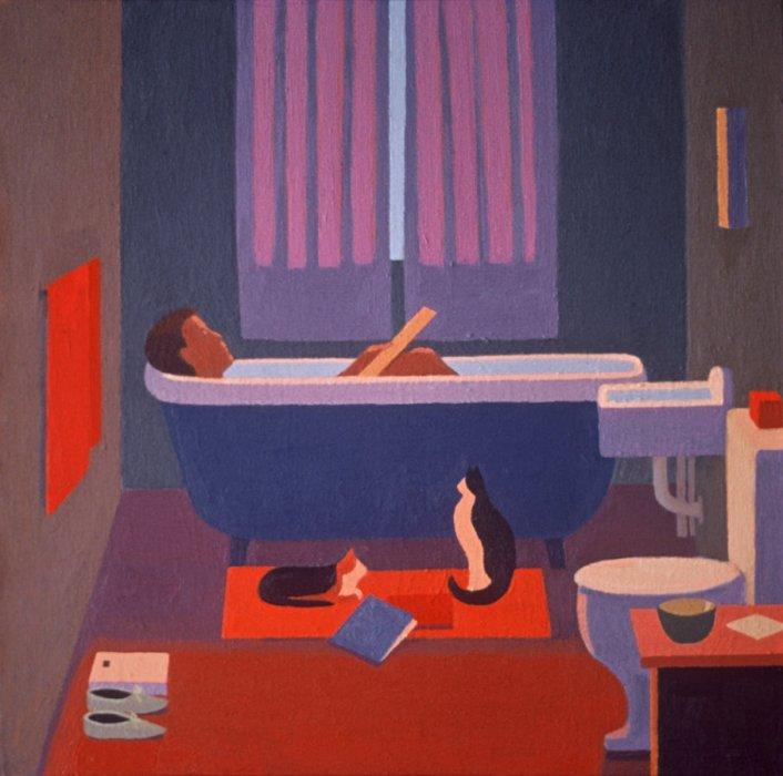 <em>The Bath,</em> 1982, 18x18 inches, oil on canvas