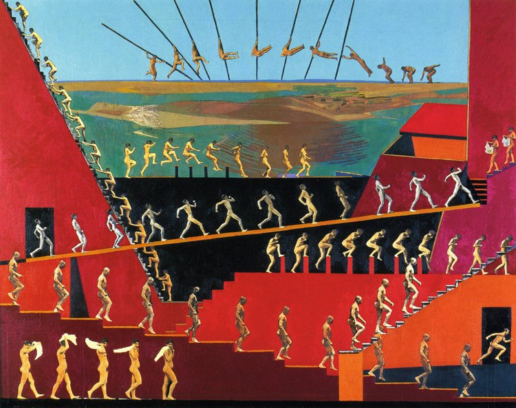 <em>Coming and Going,</em> 2000, 32x40 inches, mixed media with oil on panel
