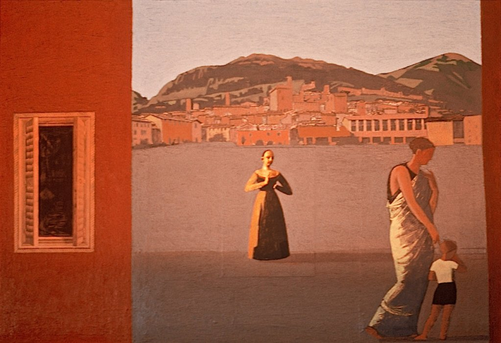 <em>Women in a Town,</em> 1999, 15.5x22.5 inches, mixed media with matte acrylic on panel