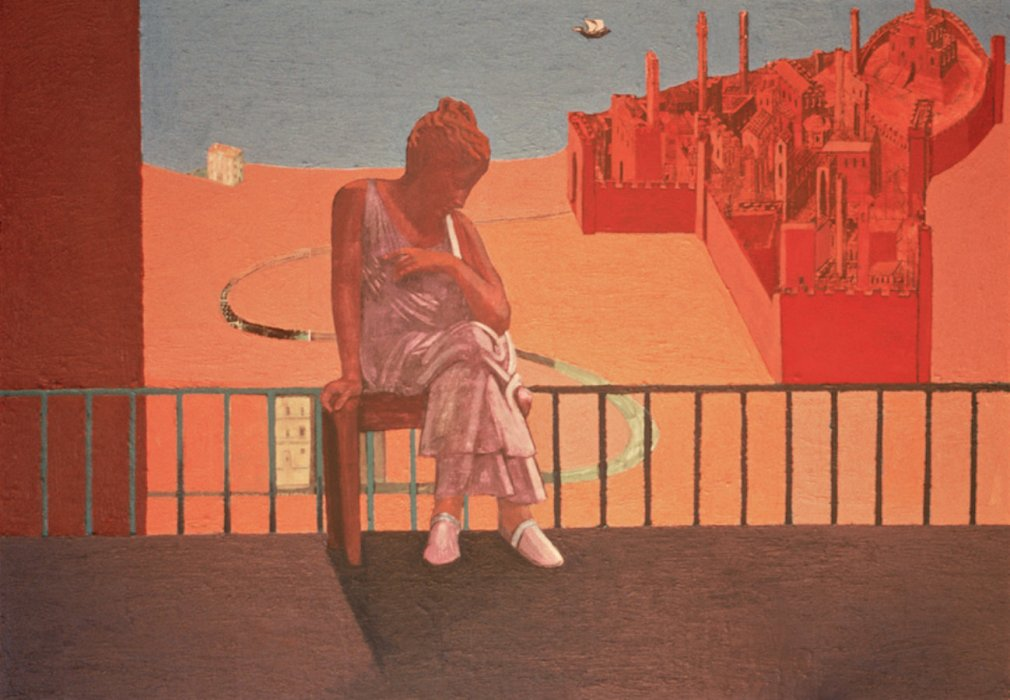 <em>Woman Near a Seaport,</em> 1999, 15.5x22.5 inches, mixed media with matte acrylic on panel