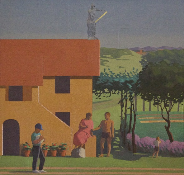 <em>La Pergola,</em> 1994, 30x30 inches, mixed media with oil on panel